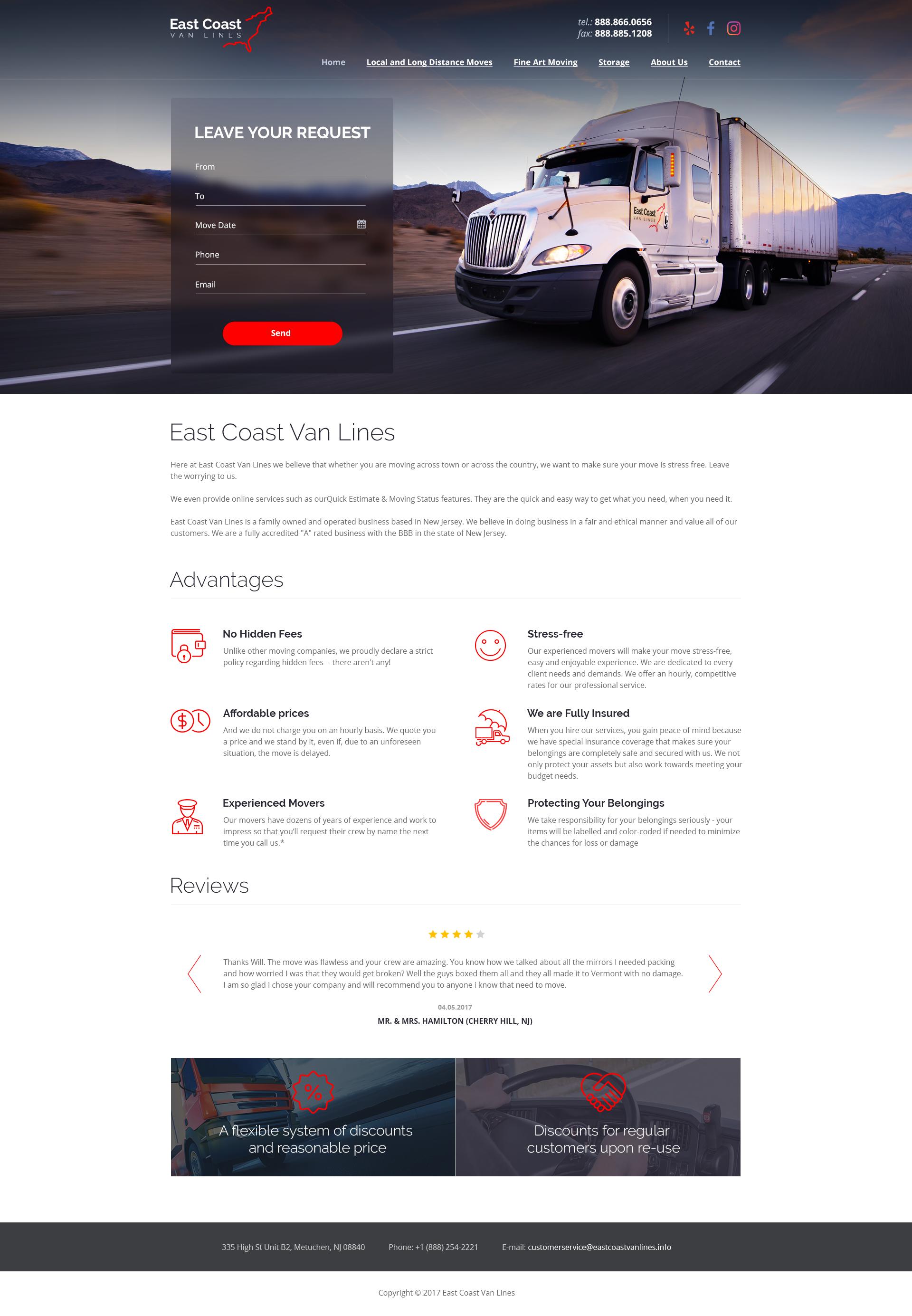 East Coast Van Lines — грузоперевозка в США