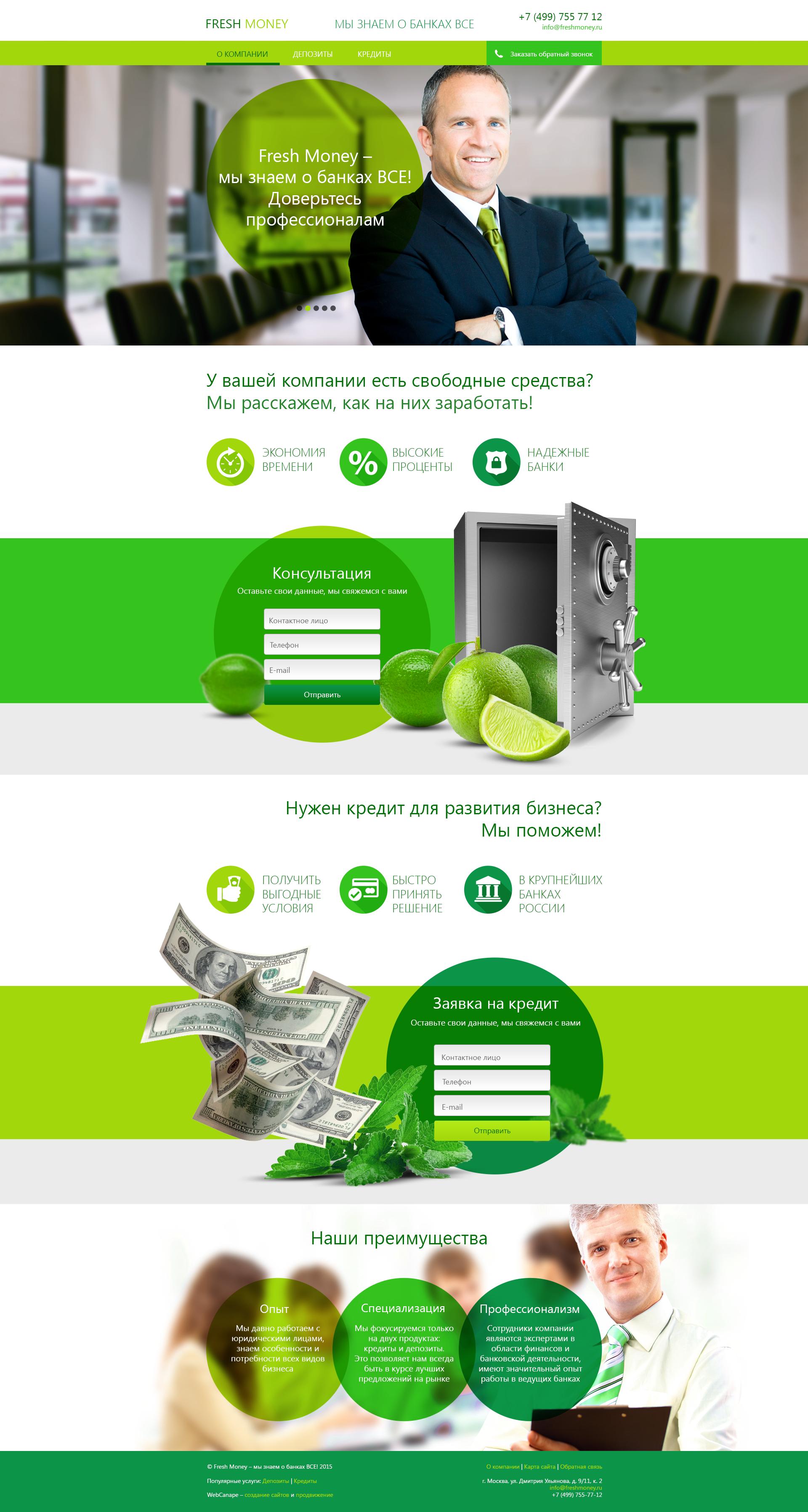 Создание сайта для компании, оказывающей финансовые услуги для бизнеса