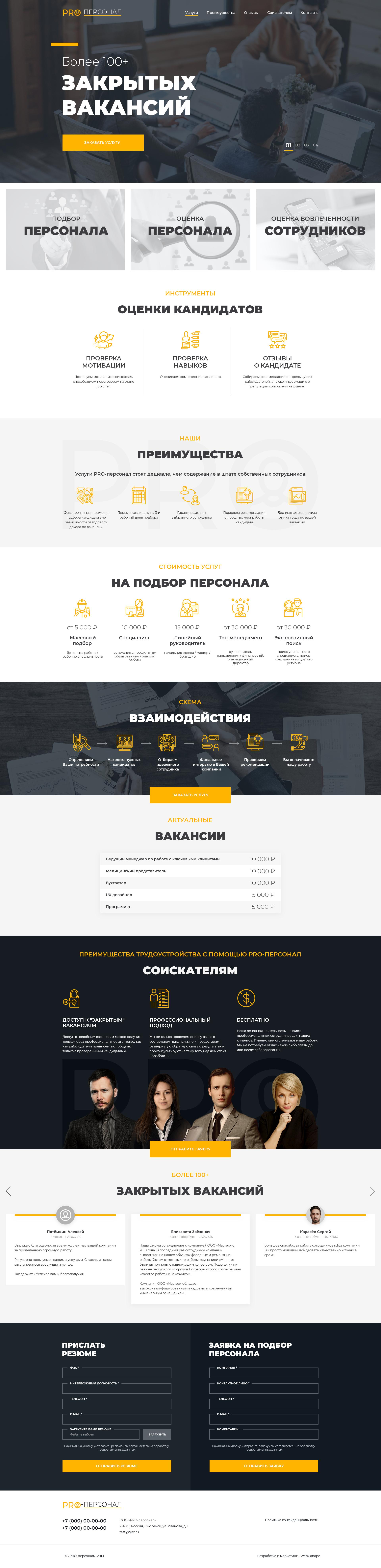 Создание сайта для компании ООО «PRO-персонал»